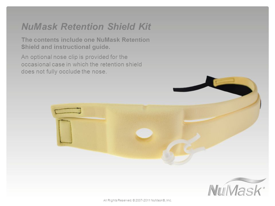 The contents include one NuMask Retention Shield and instructional guide.