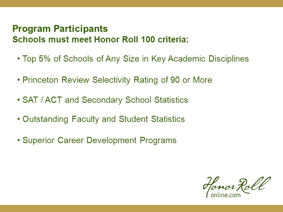 Search and Review HRO Candidate Profiles Receive Online Resumes & Reports from HRO Library Request HRO Candidate References from Faculty and Employers Schedule Face-to-Face Online Interviews thru HRO Web Conferencing System Program Process Honor Roll Online allows you to: All for one, unlimited, annual partnership fee.