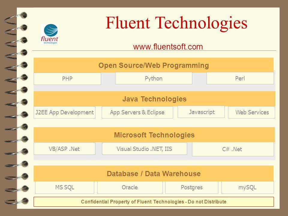 Fluent Technologies www.fluentsoft.com mySQLOraclePostgresMS SQL Database / Data Warehouse C#.Net Microsoft Technologies Visual Studio.NET, IISVB/ASP.