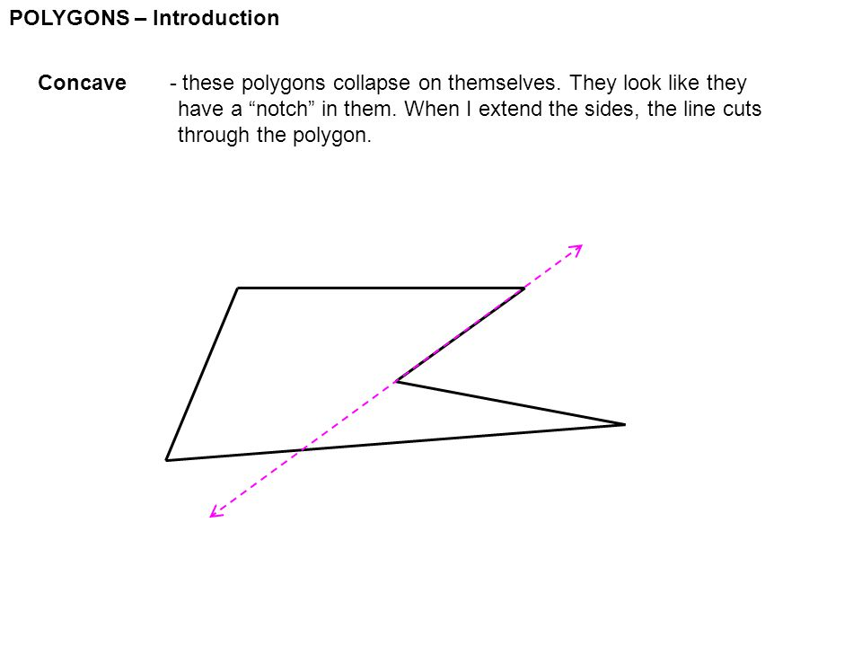 """POLYGONS – Introduction Concave - these polygons collapse on themselves. They look like they have a """"notch"""" in them. When I extend the sides, the line"""