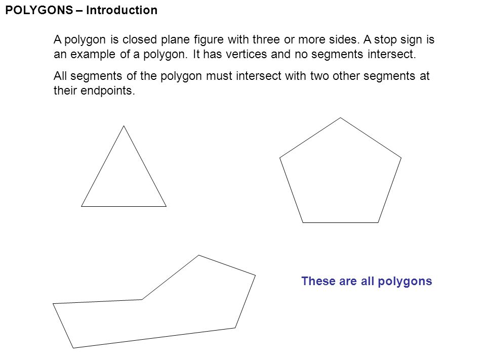 POLYGONS – Introduction A polygon is closed plane figure with three or more sides. A stop sign is an example of a polygon. It has vertices and no segm