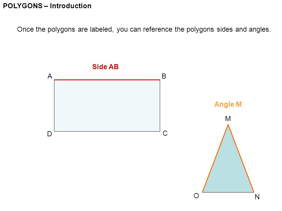 POLYGONS – Introduction Once the polygons are labeled, you can reference the polygons sides and angles. AB C D O N M Side AB Angle M
