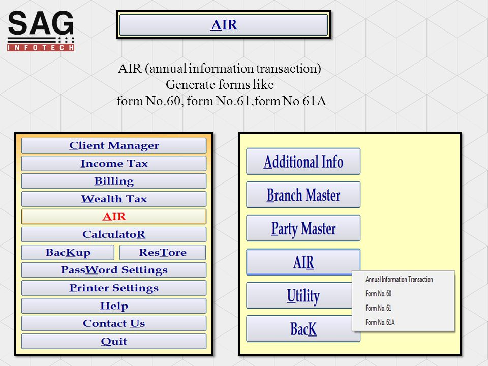 AIR (annual information transaction) Generate forms like form No.60, form No.61,form No 61A