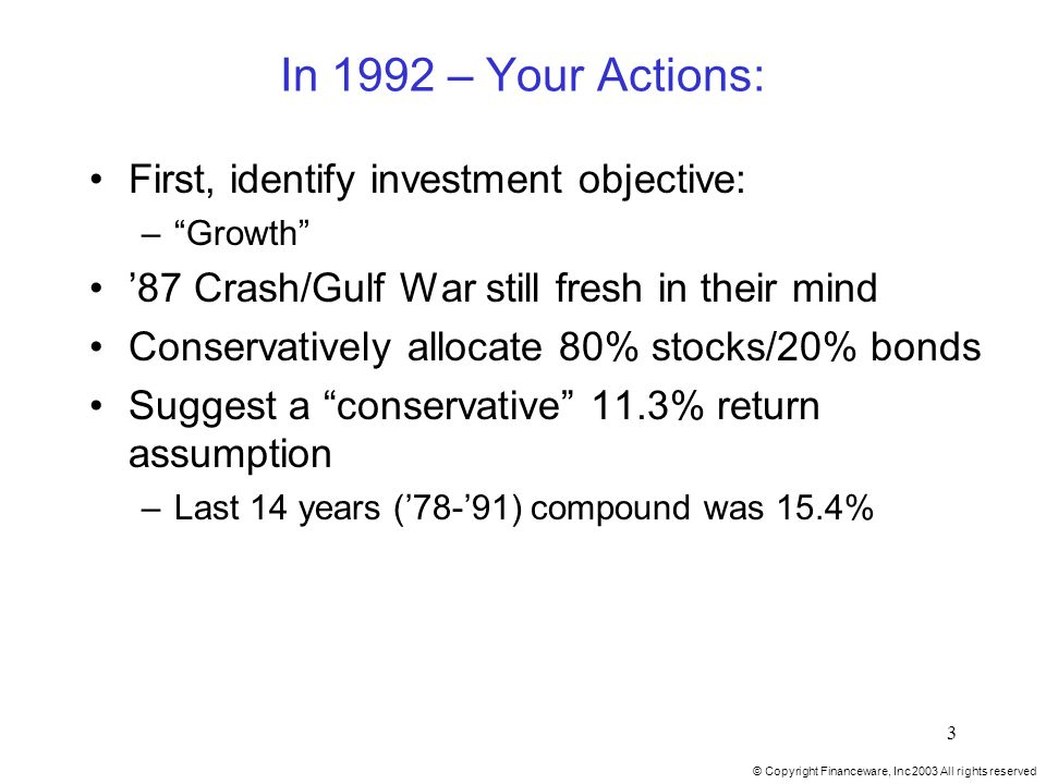 © Copyright Financeware, Inc 2003 All rights reserved 3 In 1992 – Your Actions: First, identify investment objective: – Growth '87 Crash/Gulf War still fresh in their mind Conservatively allocate 80% stocks/20% bonds Suggest a conservative 11.3% return assumption –Last 14 years ('78-'91) compound was 15.4%