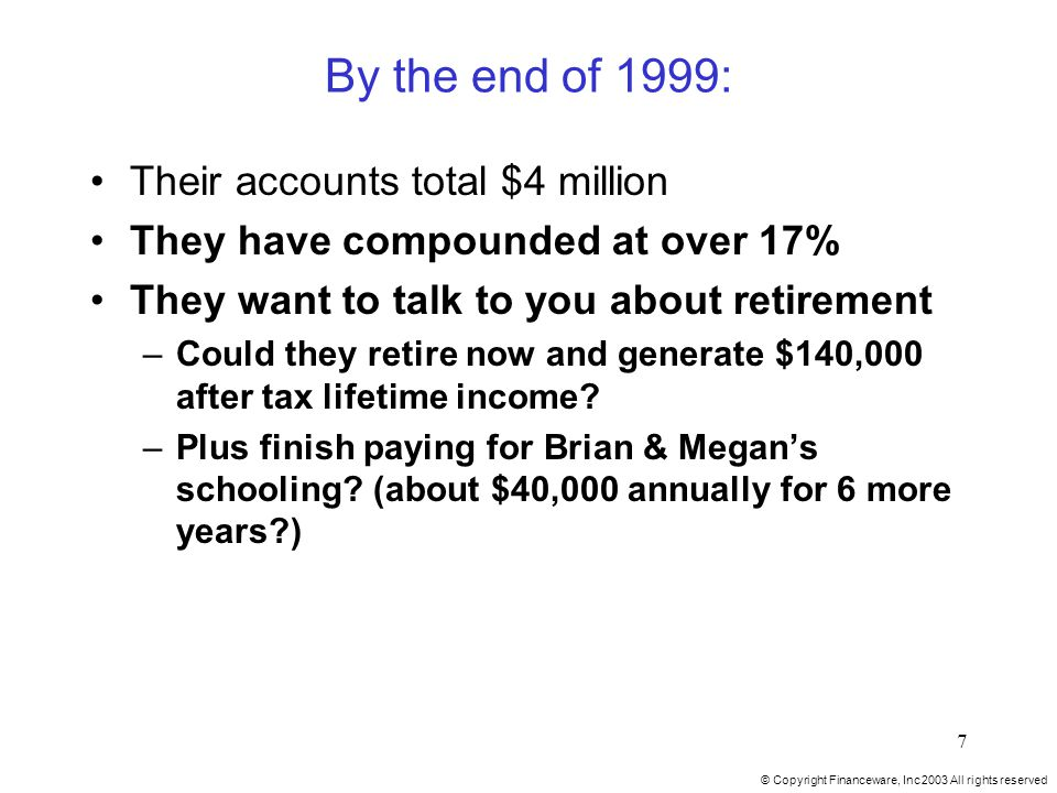 © Copyright Financeware, Inc 2003 All rights reserved 7 By the end of 1999: Their accounts total $4 million They have compounded at over 17% They want to talk to you about retirement –Could they retire now and generate $140,000 after tax lifetime income.