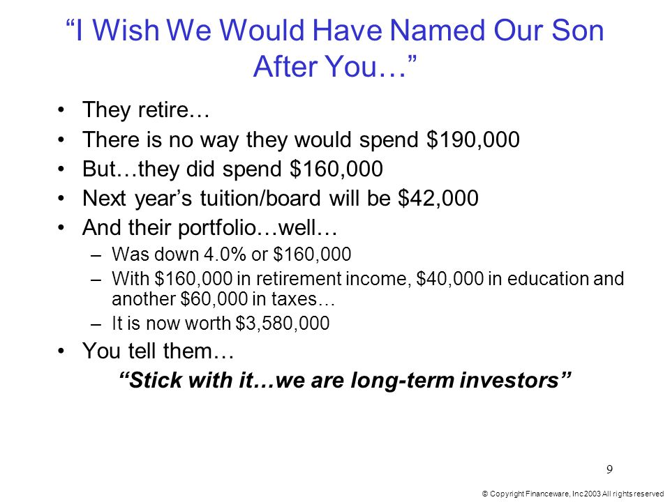 © Copyright Financeware, Inc 2003 All rights reserved 9 I Wish We Would Have Named Our Son After You… They retire… There is no way they would spend $190,000 But…they did spend $160,000 Next year's tuition/board will be $42,000 And their portfolio…well… –Was down 4.0% or $160,000 –With $160,000 in retirement income, $40,000 in education and another $60,000 in taxes… –It is now worth $3,580,000 You tell them… Stick with it…we are long-term investors