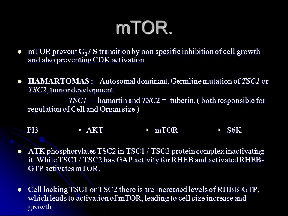 mTOR prevent G 1 / S transition by non spesific inhibition of cell growth and also preventing CDK activation. mTOR prevent G 1 / S transition by non s