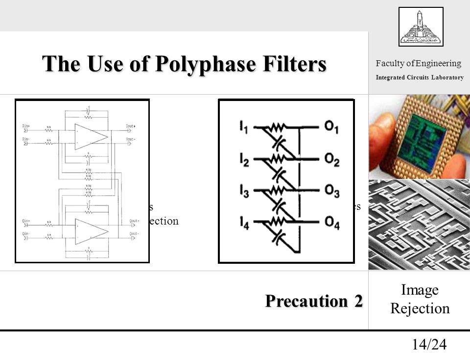 - 14/24 Faculty of Engineering Integrated Circuits Laboratory The Use of Polyphase Filters Image Rejection Precaution 2 f if -f if f f if -f if f Active Polyphase Filter Bandpass filter Preferred at low frequencies Can be used for channel selection Passive Polyphase Filter Bandstop filter Preferred at high frequencies