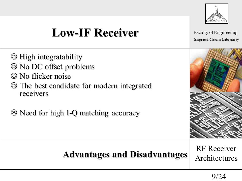 - 9/24 Faculty of Engineering Integrated Circuits Laboratory Low-IF Receiver High integratability High integratability No DC offset problems No DC offset problems No flicker noise No flicker noise The best candidate for modern integrated receivers The best candidate for modern integrated receivers  Need for high I-Q matching accuracy RF Receiver Architectures Advantages and Disadvantages