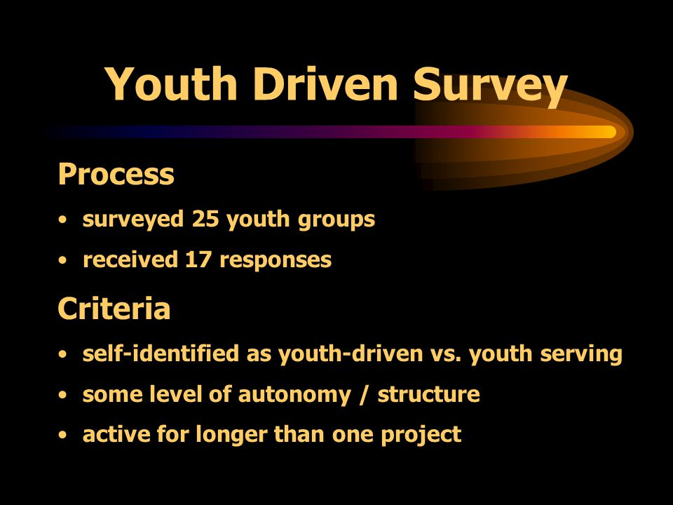 Youth Driven Survey Goals of the Survey: document existing youth run entities begin to define what youth driven means explore how youth agencies function articulate common barriers to sustaining the work