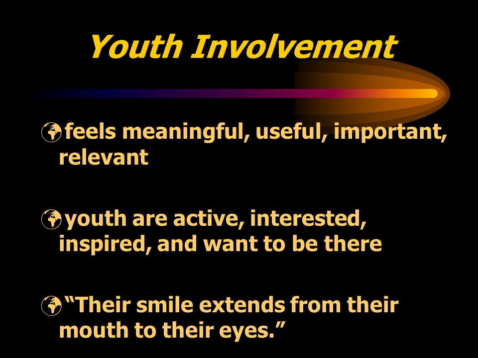 Characteristics of Youth Friendly Environments youth are respected youth are valued the environment is fun youth feel appreciated youth feel safe youth feel comfortable there is an honest process