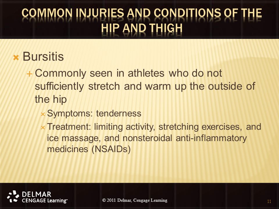 © 2010 Delmar, Cengage Learning 11 © 2011 Delmar, Cengage Learning  Bursitis  Commonly seen in athletes who do not sufficiently stretch and warm up