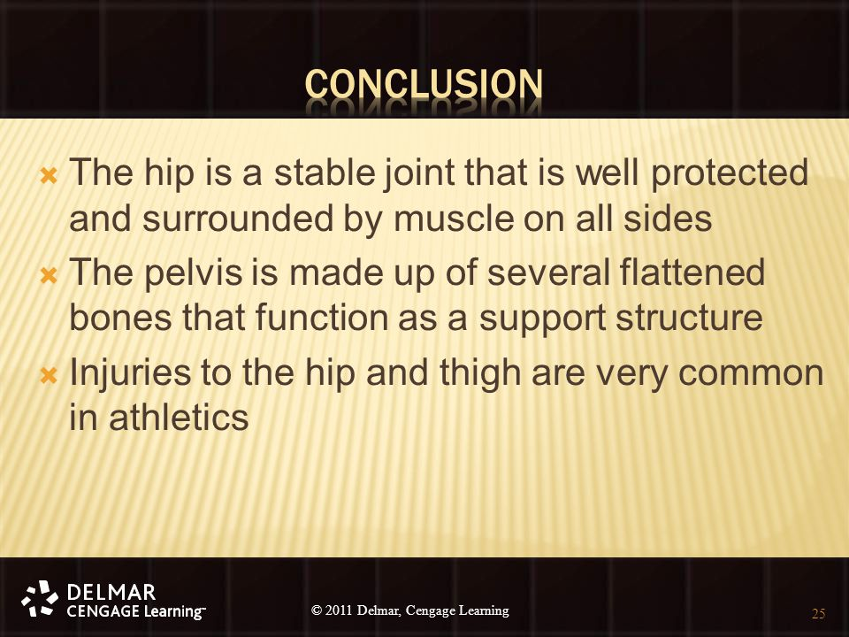 © 2010 Delmar, Cengage Learning 25 © 2011 Delmar, Cengage Learning  The hip is a stable joint that is well protected and surrounded by muscle on all