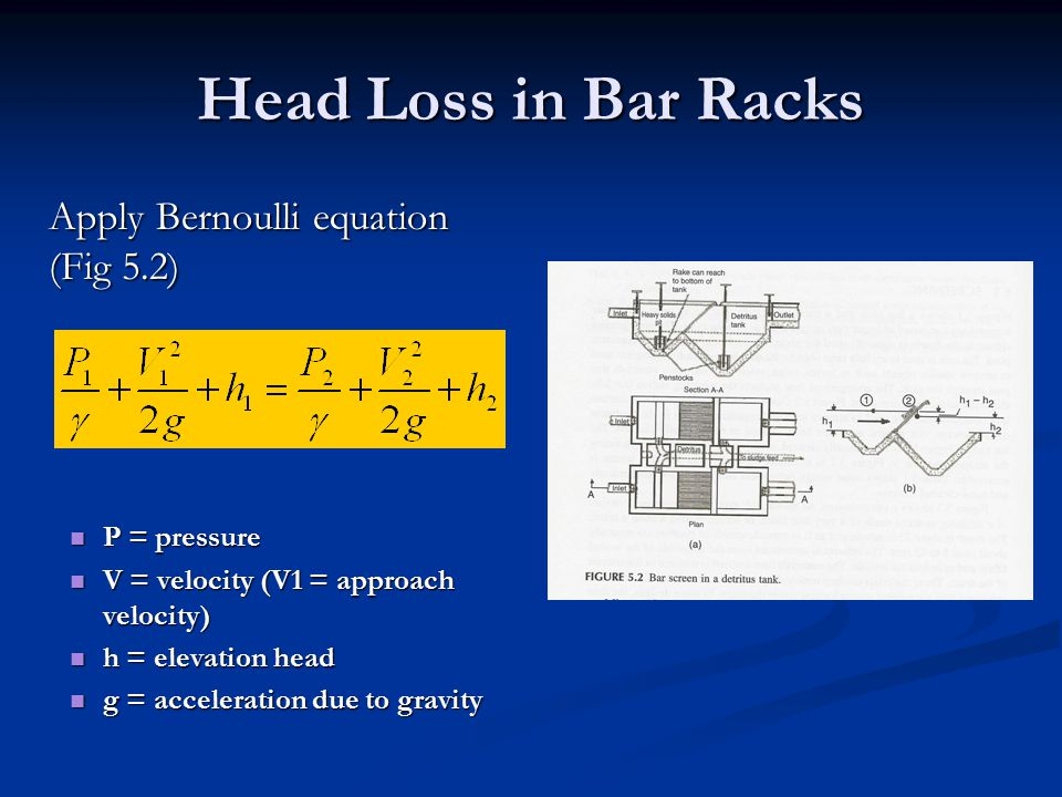 Head Loss in Bar Racks Apply Bernoulli equation (Fig 5.2) P = pressure P = pressure V = velocity (V1 = approach velocity) V = velocity (V1 = approach velocity) h = elevation head h = elevation head g = acceleration due to gravity g = acceleration due to gravity