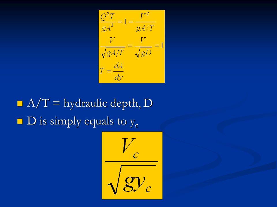 A/T = hydraulic depth, D A/T = hydraulic depth, D D is simply equals to y c D is simply equals to y c