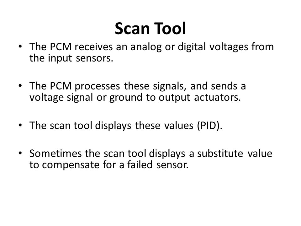 The PCM receives an analog or digital voltages from the input sensors. The PCM processes these signals, and sends a voltage signal or ground to output