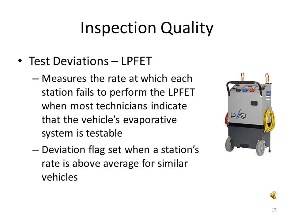 Inspection Quality Test Deviations – LPFET – Measures the rate at which each station fails to perform the LPFET when most technicians indicate that th