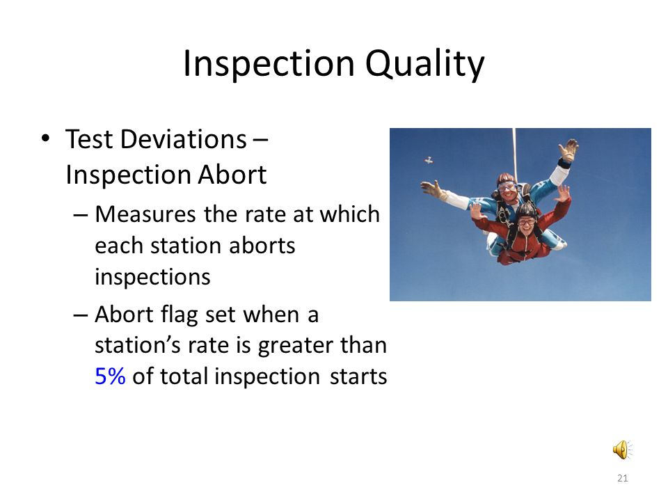 Inspection Quality Test Deviations – Inspection Abort – Measures the rate at which each station aborts inspections – Abort flag set when a station's r