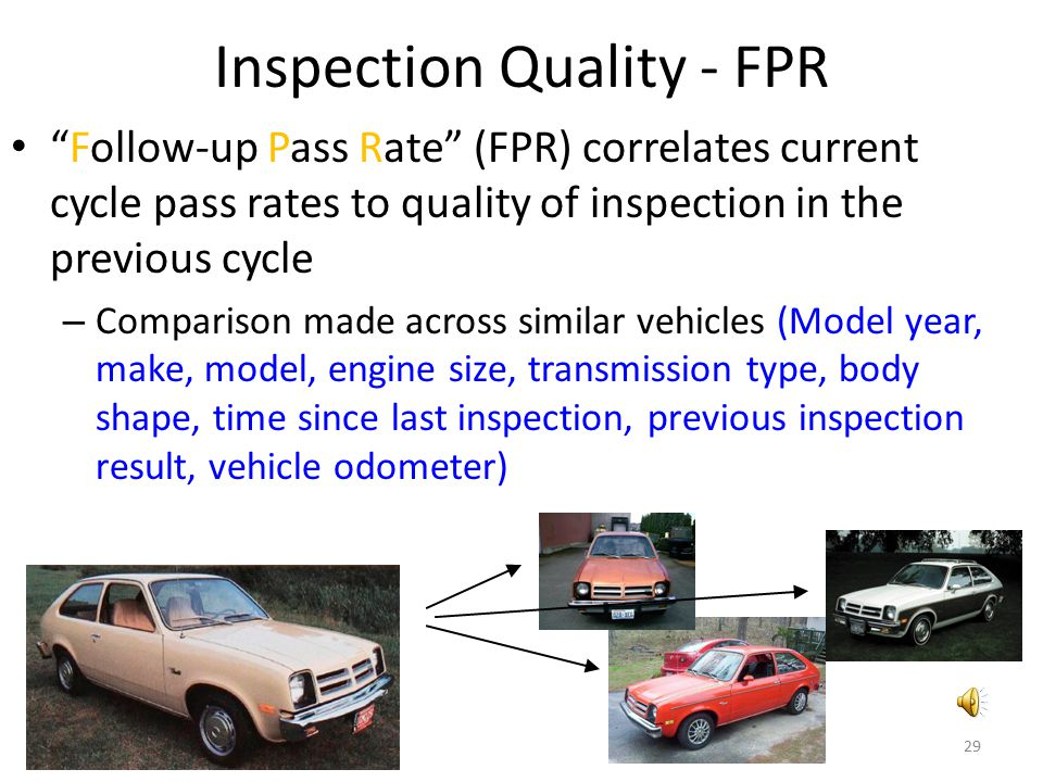 "Inspection Quality - FPR ""Follow-up Pass Rate"" (FPR) correlates current cycle pass rates to quality of inspection in the previous cycle – Comparison m"