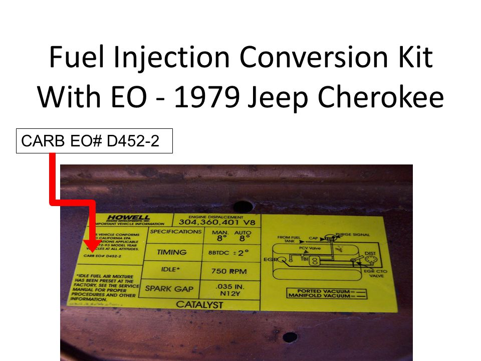 Fuel Injection Conversion Kit With EO - 1979 Jeep Cherokee CARB EO# D452-2