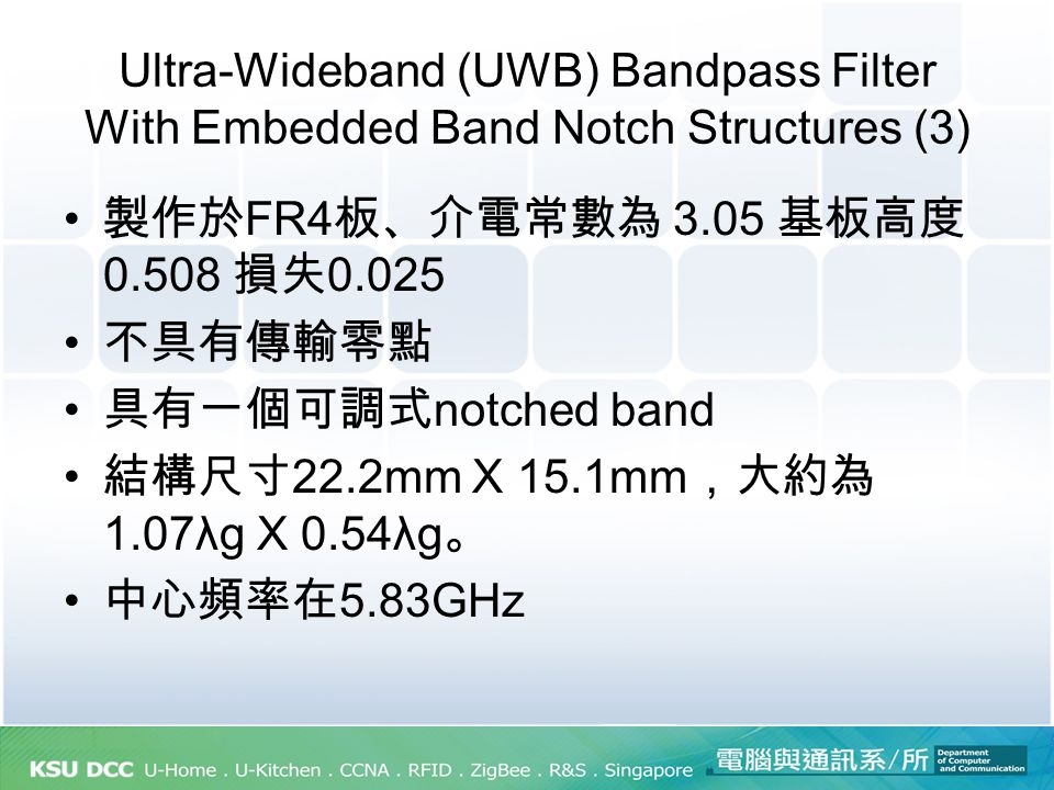 Compact Ultra-Wideband Bandpass Filter Using Dual-Line Coupling Structure(3) S-parameters and group delay of the UWB BPF.