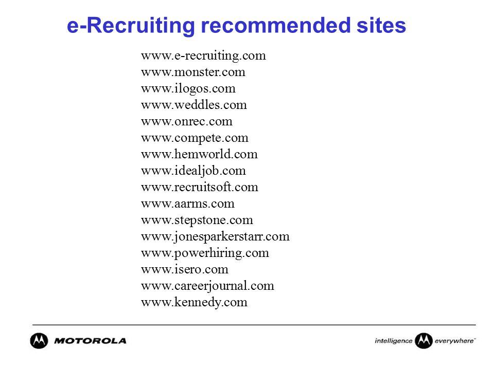 e-Recruiting recommended sites www.e-recruiting.com www.monster.com www.ilogos.com www.weddles.com www.onrec.com www.compete.com www.hemworld.com www.