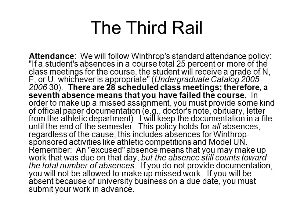 The Third Rail Attendance: We will follow Winthrop's standard attendance policy: