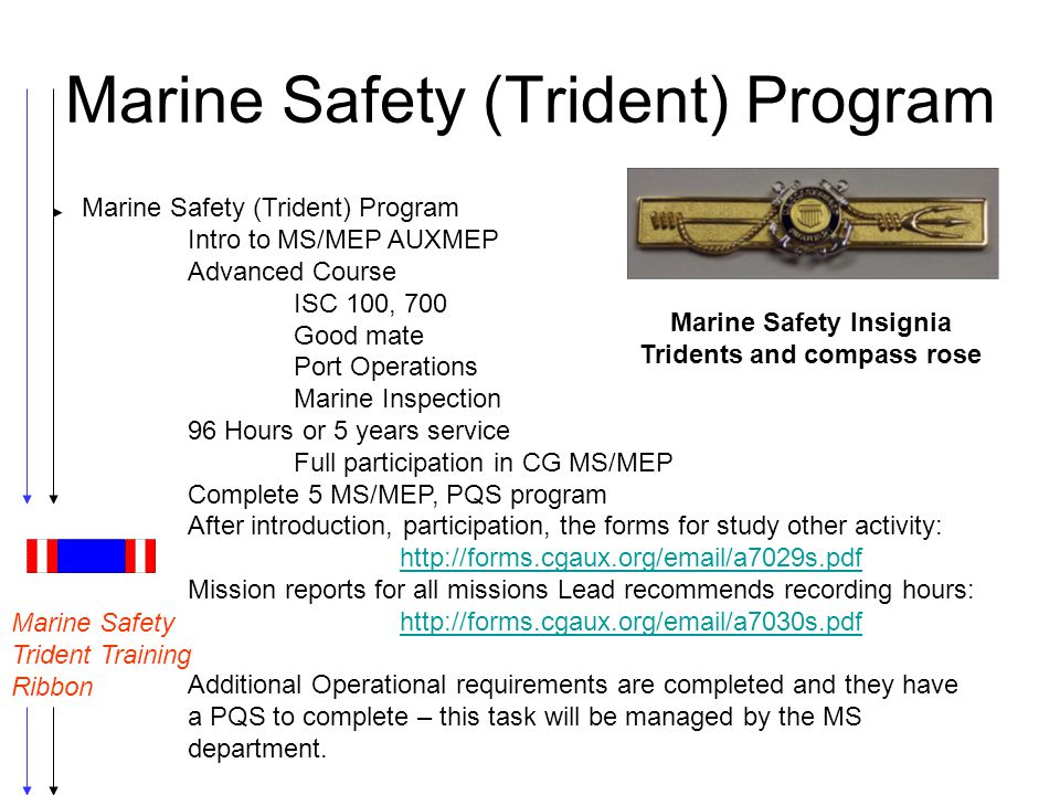 Marine Safety (Trident) Program Intro to MS/MEP AUXMEP Advanced Course ISC 100, 700 Good mate Port Operations Marine Inspection 96 Hours or 5 years se