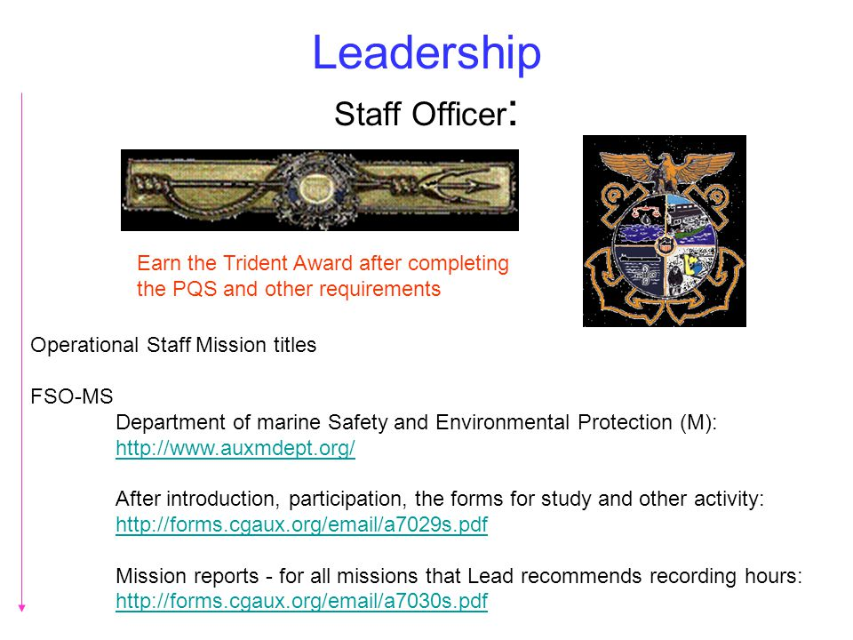 Leadership Staff Officer : Operational Staff Mission titles FSO-MS Department of marine Safety and Environmental Protection (M): http://www.auxmdept.o