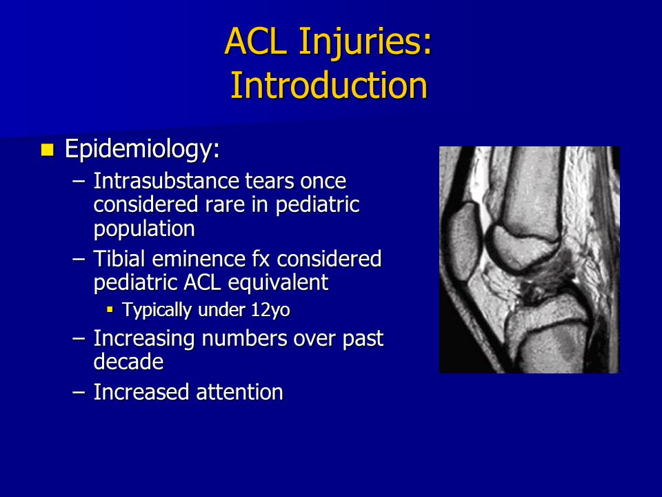 5 ACL Injuries: Introduction Reasons for increased incidence: Reasons for increased incidence: –Increased participation in sports –Higher competitive levels early on –Increased awareness of injury –Decreased conditioning
