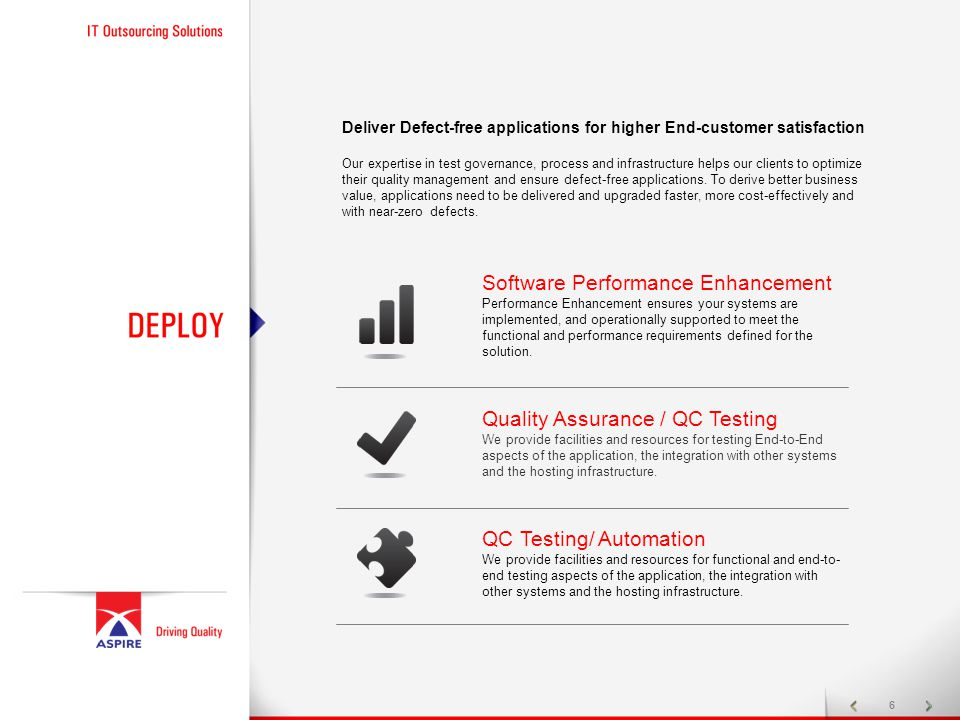 6 Deliver Defect-free applications for higher End-customer satisfaction Our expertise in test governance, process and infrastructure helps our clients to optimize their quality management and ensure defect-free applications.