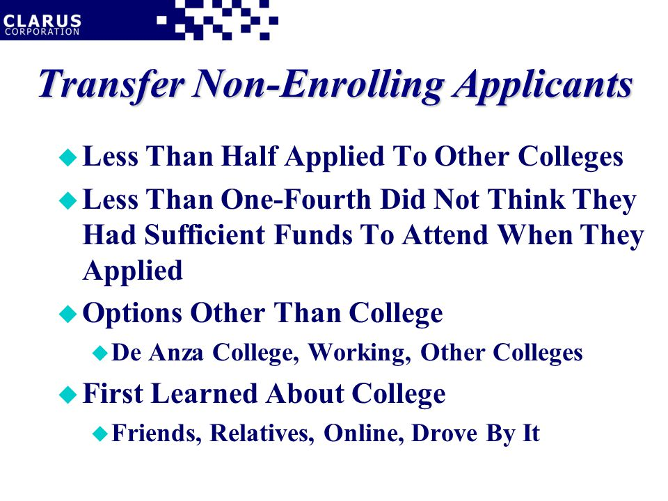 Transfer Non-Enrolling Applicants u Less Than Half Applied To Other Colleges u Less Than One-Fourth Did Not Think They Had Sufficient Funds To Attend