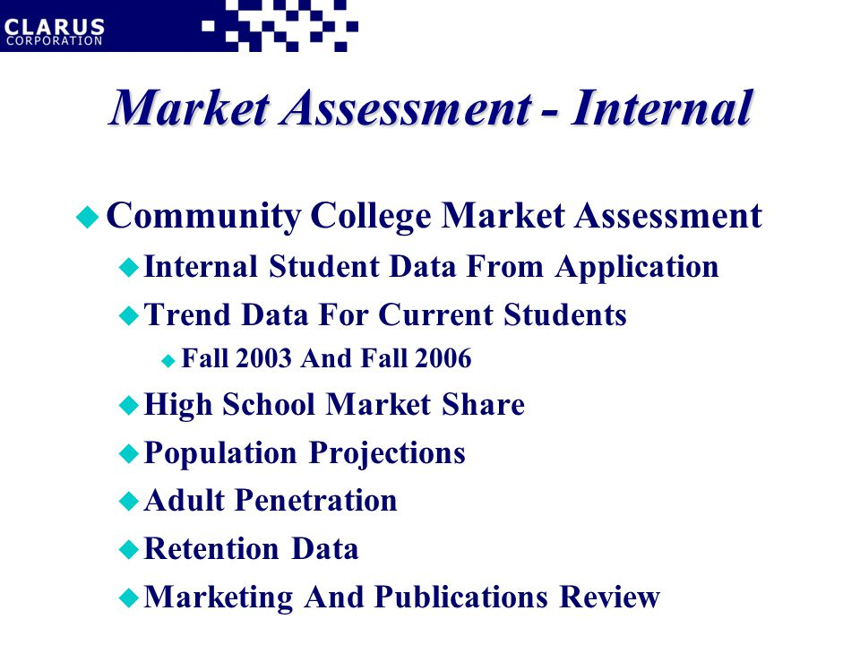 Market Assessment - Internal u Community College Market Assessment u Internal Student Data From Application u Trend Data For Current Students u Fall 2003 And Fall 2006 u High School Market Share u Population Projections u Adult Penetration u Retention Data u Marketing And Publications Review
