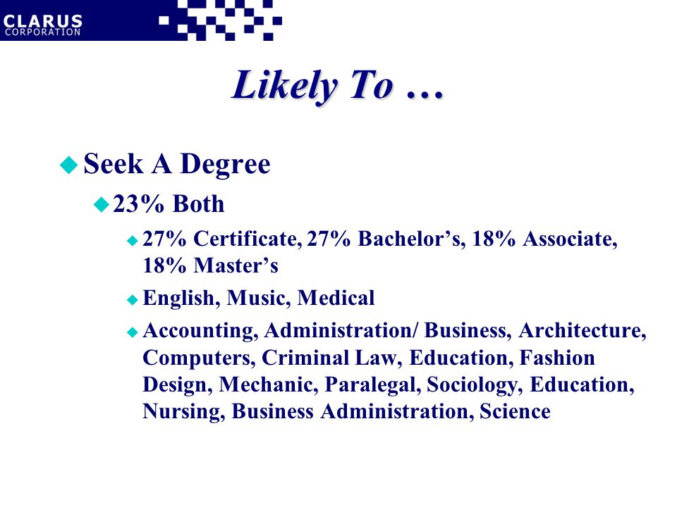 Likely To … u Seek A Degree u 23% Both u 27% Certificate, 27% Bachelor's, 18% Associate, 18% Master's u English, Music, Medical u Accounting, Administration/ Business, Architecture, Computers, Criminal Law, Education, Fashion Design, Mechanic, Paralegal, Sociology, Education, Nursing, Business Administration, Science