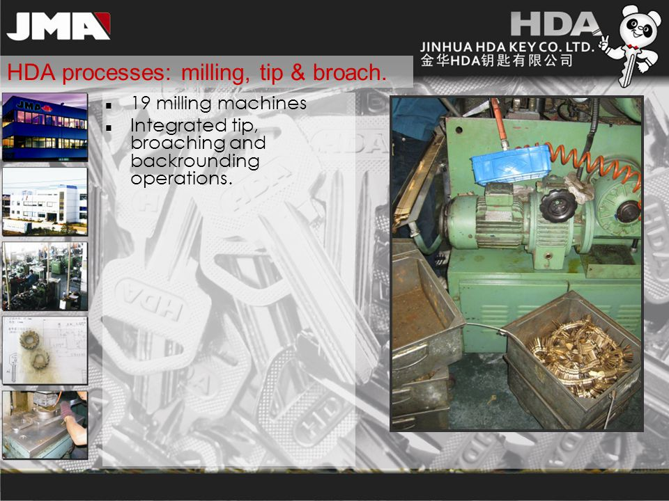 HDA processes: milling, tip & broach. 19 milling machines Integrated tip, broaching and backrounding operations.