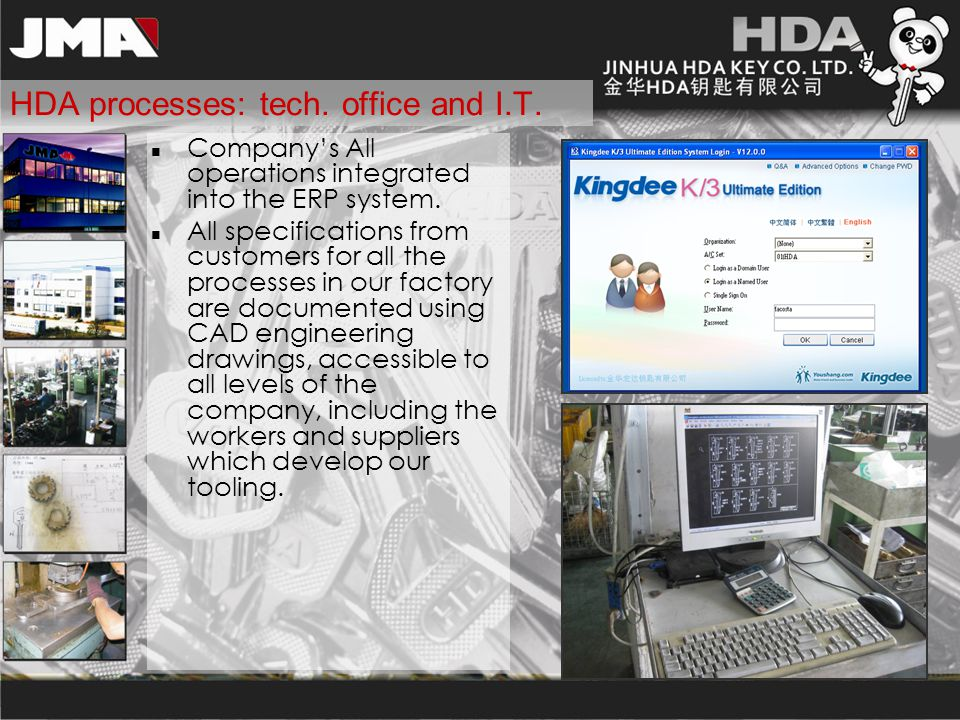HDA processes: tech. office and I.T. Company's All operations integrated into the ERP system. All specifications from customers for all the processes