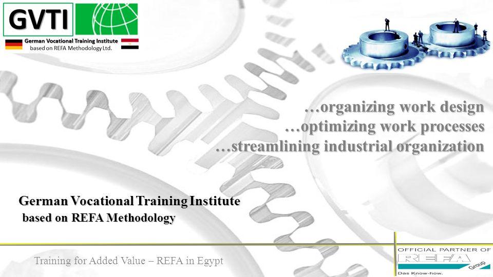 German Vocational Training Institute based on REFA Methodology …organizing work design …optimizing work processes …streamlining industrial organizatio