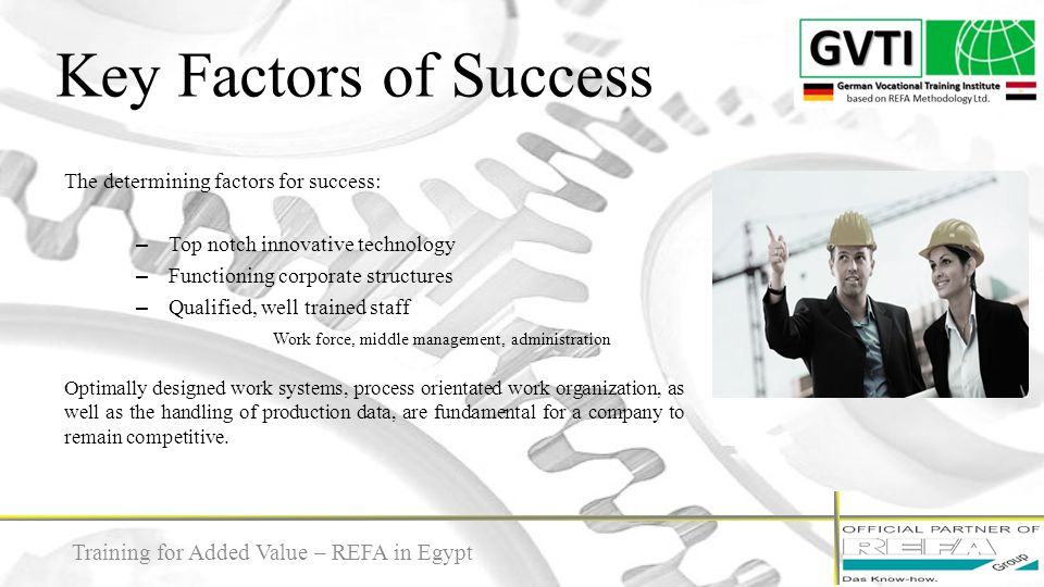 REFA Methodology 7 Training for Added Value – REFA in Egypt The REFA Methodology includes the traditional core knowledge of REFA which is continuously updated since 1924.