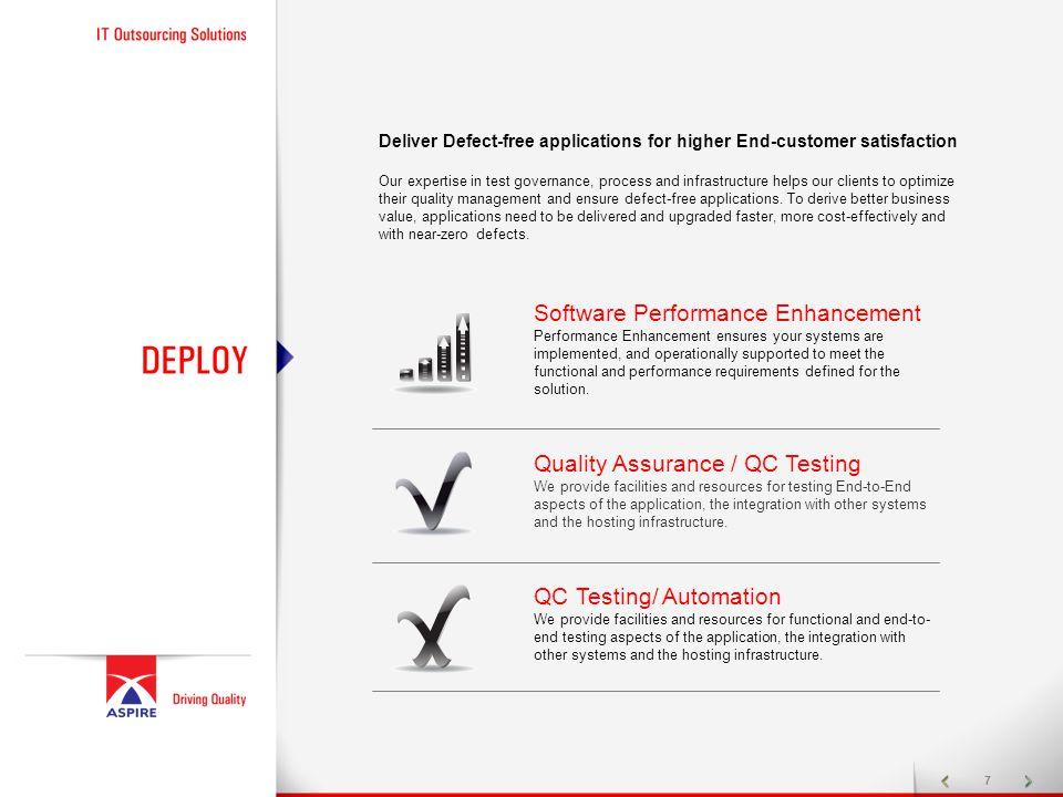 7 Deliver Defect-free applications for higher End-customer satisfaction Our expertise in test governance, process and infrastructure helps our clients to optimize their quality management and ensure defect-free applications.