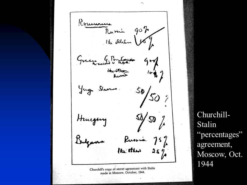 Churchill- Stalin percentages agreement, Moscow, Oct. 1944