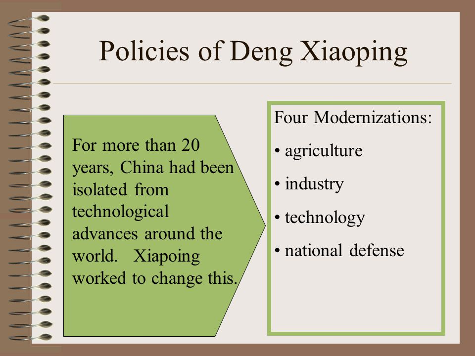 Policies of Deng Xiaoping Four Modernizations: agriculture industry technology national defense For more than 20 years, China had been isolated from t