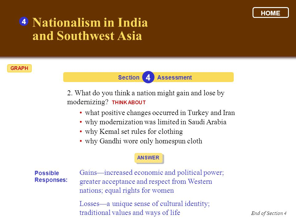 Section 4 Assessment ANSWER 2.What do you think a nation might gain and lose by modernizing.