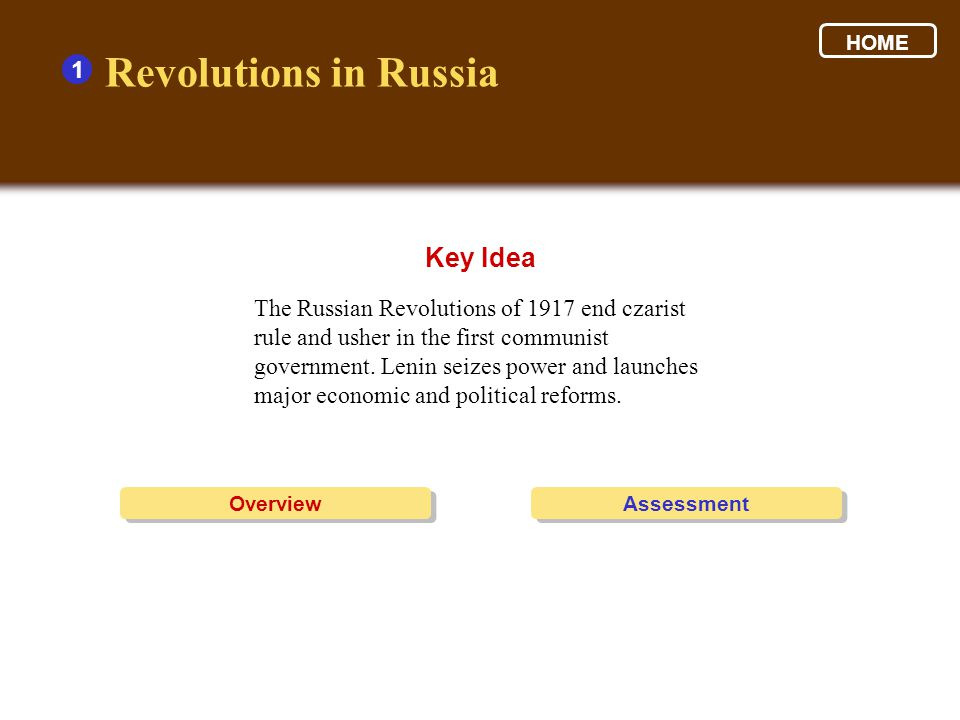 The Russian Revolutions of 1917 end czarist rule and usher in the first communist government.