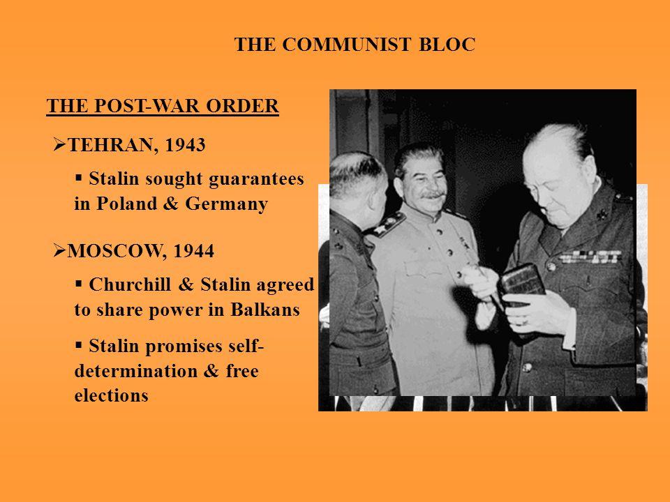 THE COMMUNIST BLOC THE POST-WAR ORDER  YALTA, FEB.