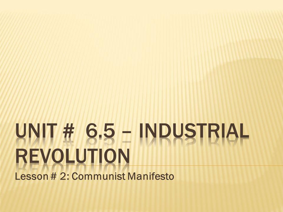 Lesson # 2: Communist Manifesto