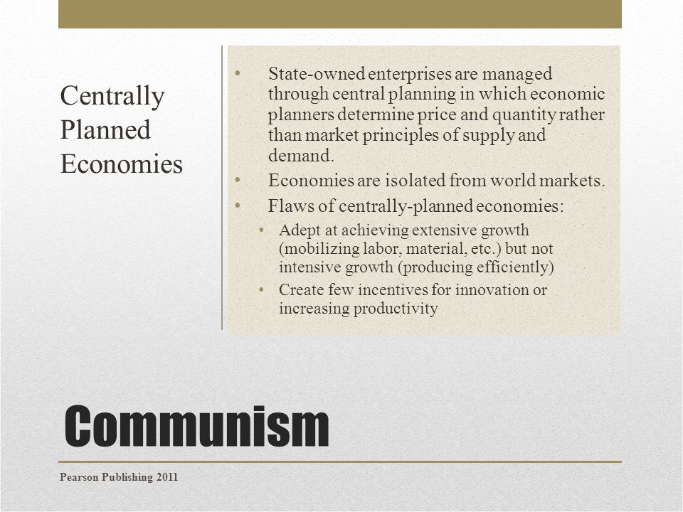 Rise of Communist Regimes in Eastern Europe & the Soviet Union Communist regimes were first established in the Soviet Union, led by Vladimir Lenin in the 1917 revolution In the 1930s Joseph Stalin oversaw the creation of a state- owned, centrally-planned economy with collectivized agriculture.