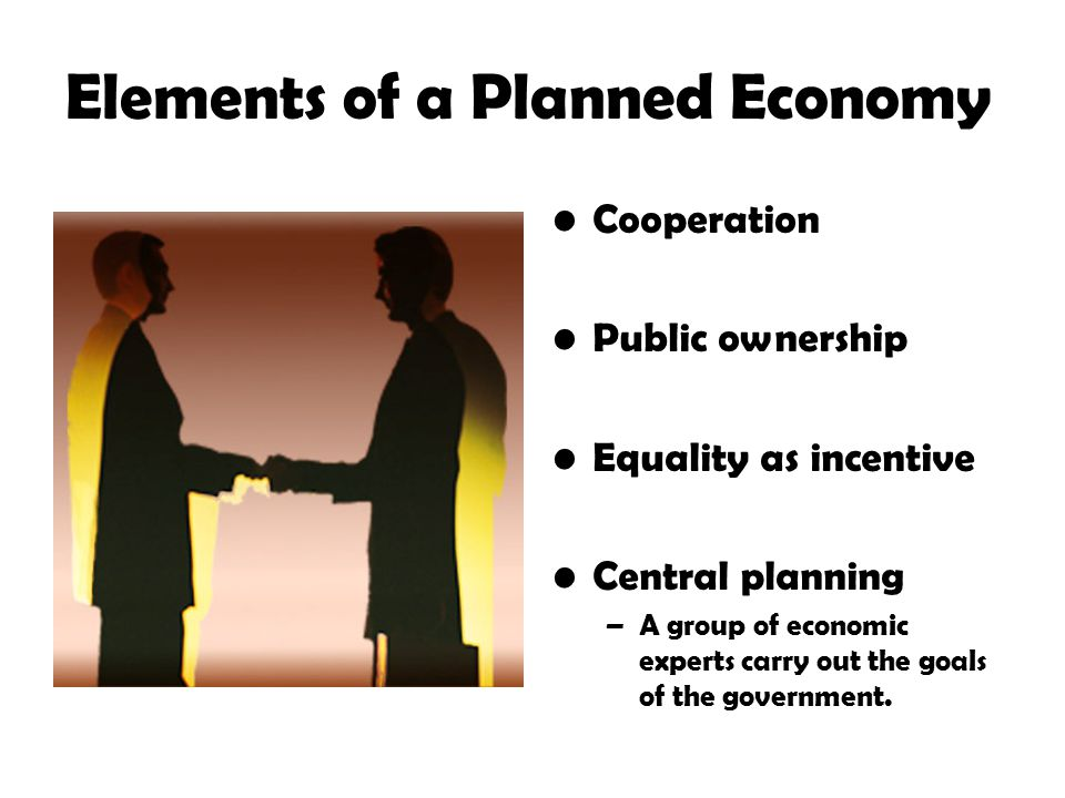 Elements of a Planned Economy Cooperation Public ownership Equality as incentive Central planning –A group of economic experts carry out the goals of the government.