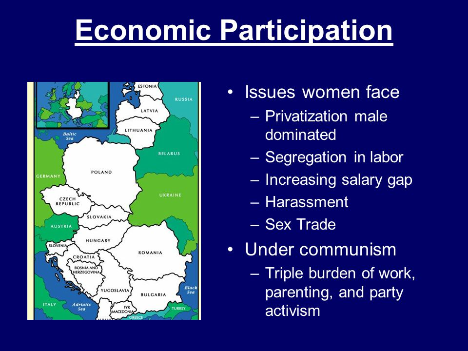 Economic Participation Issues women face –Privatization male dominated –Segregation in labor –Increasing salary gap –Harassment –Sex Trade Under communism –Triple burden of work, parenting, and party activism