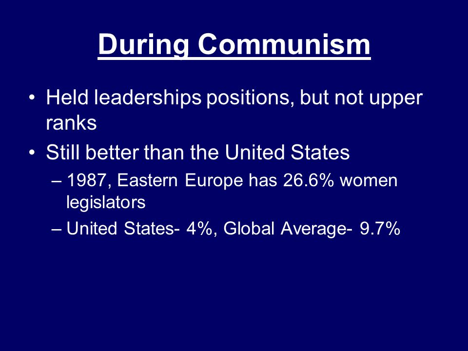 During Communism Held leaderships positions, but not upper ranks Still better than the United States –1987, Eastern Europe has 26.6% women legislators –United States- 4%, Global Average- 9.7%