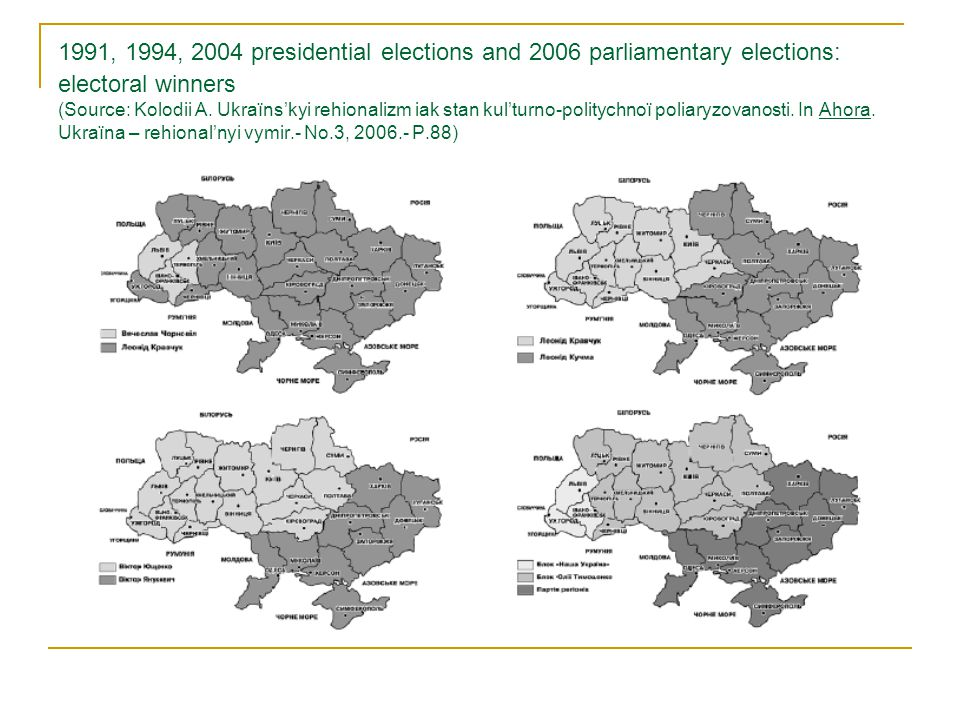 Regional winners of 2010 presidential election (2 nd round, left) and 2012 parliamentary election (multi-mandate party constituency, right) (Source: www.electoralgeography.com)